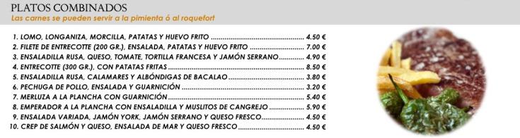 Platos combinados restaurante Bingo Tres Forques Valencia