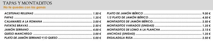 Tapas y montaditos Restaurante Bingo Tres Forques