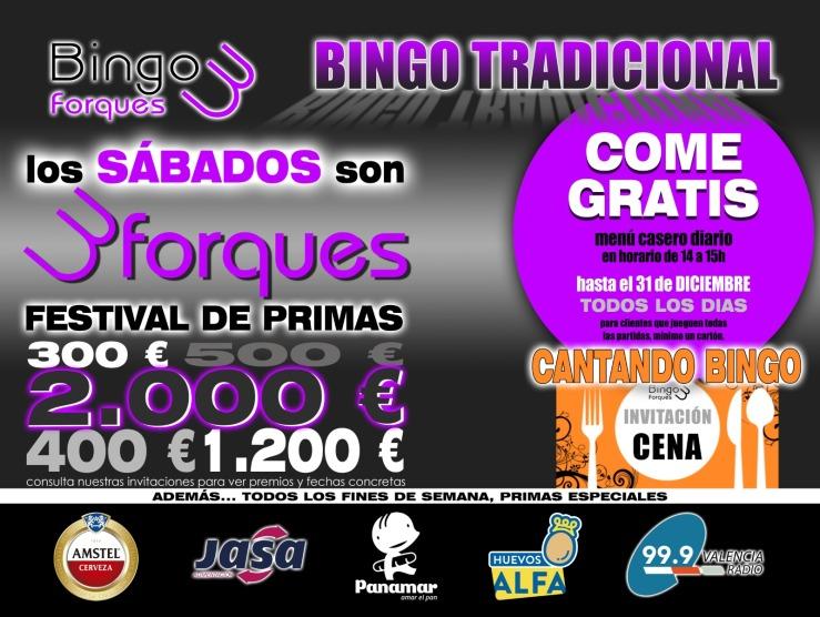 Promoción Come gratis Bingo Tres Forques